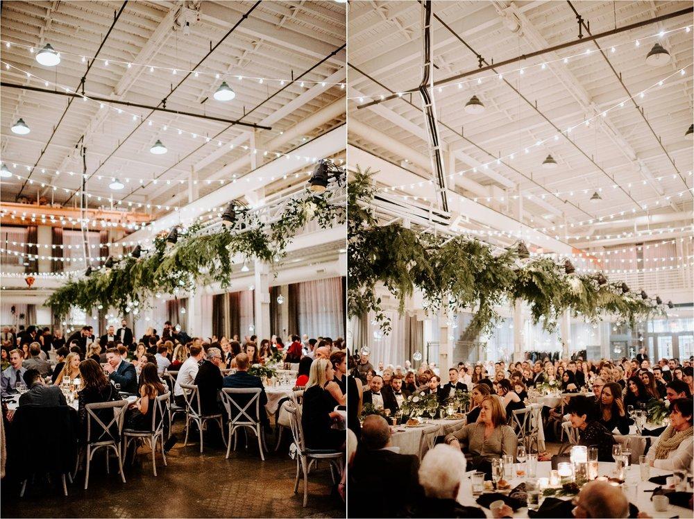 machine shop minneapolis december winter wedding reception lighting