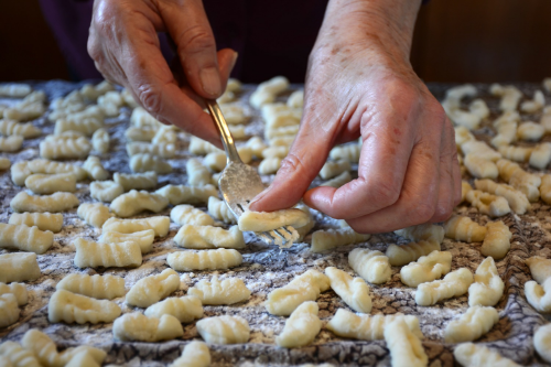 gnocchi rolled with fork