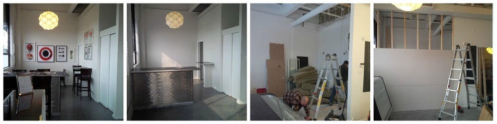 Progression of the space from cafe to 2nd rental kitchen and Manning Canning production space