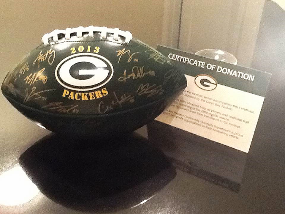 Authentic Green Bay Packers Collector's Football Donated by Mark Murphy Colgate '77