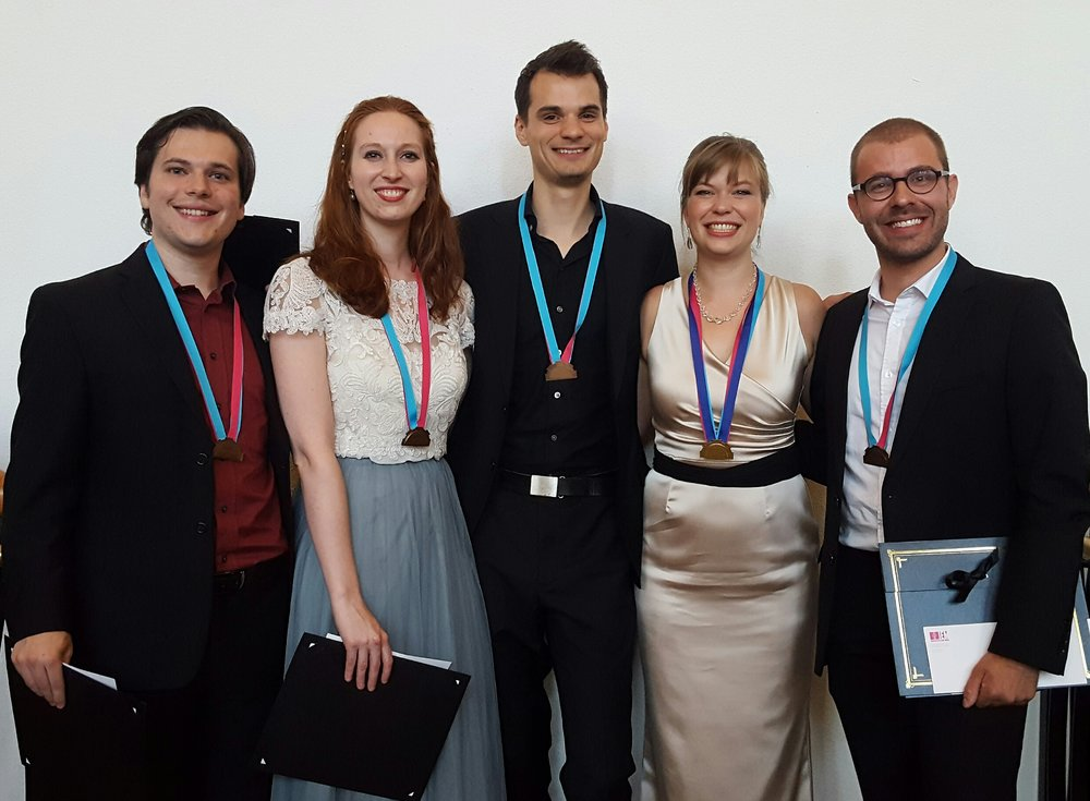 The Laureates of the 2016 Indianapolis International Baroque Competition. Left to Right: Dominic Favia, Augusta McKay Lodge, Nate Helgeson, Alexa Raine-Wright, Vincent Lauzer.