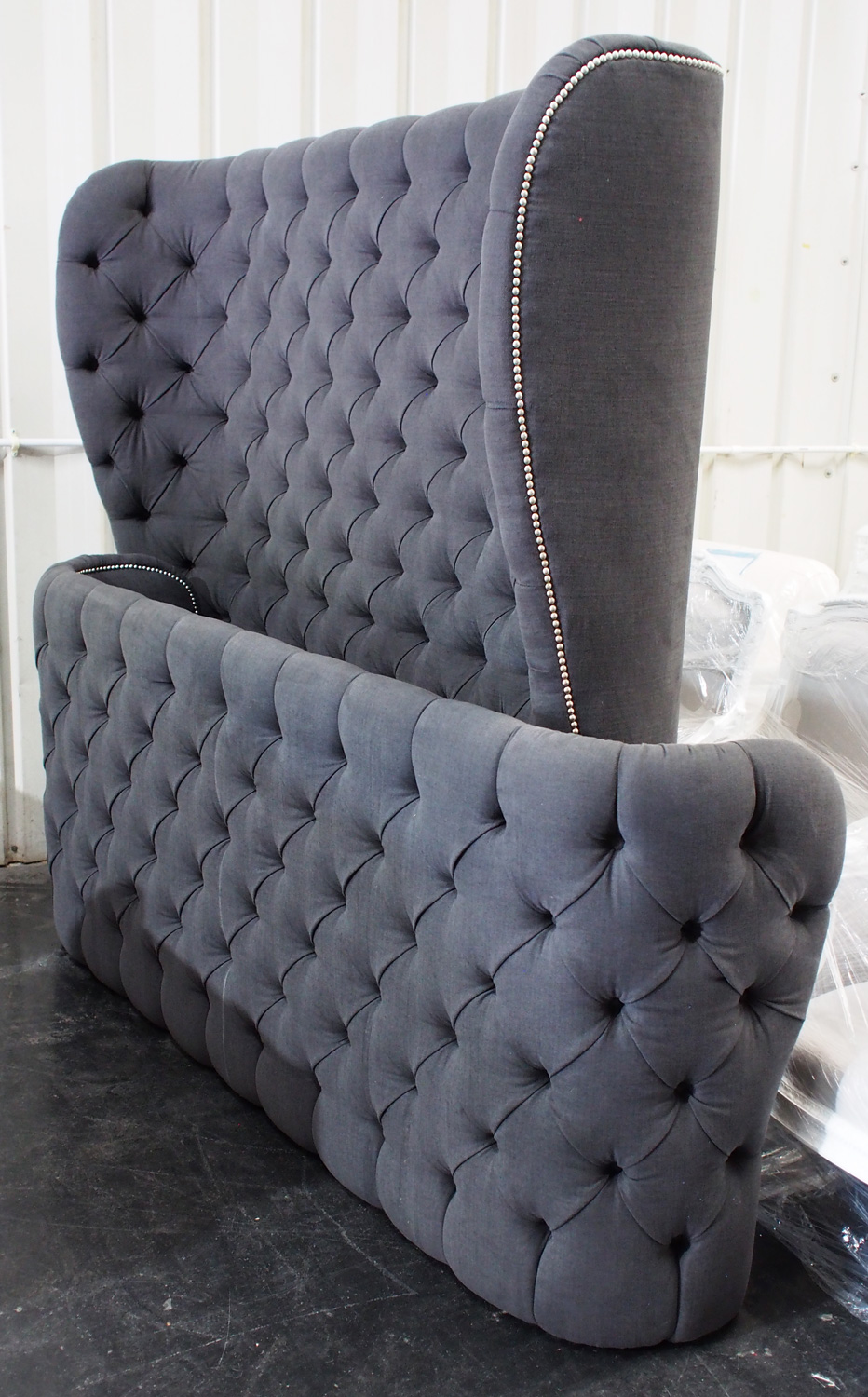 Tufted King Sleigh Bed with Nailheads
