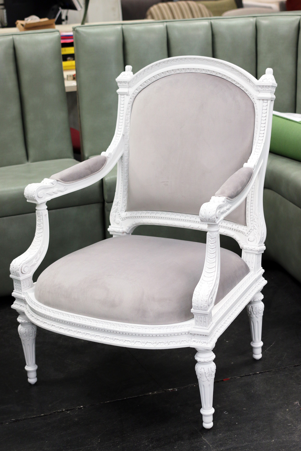 Velvet Arm Chair with New Paint