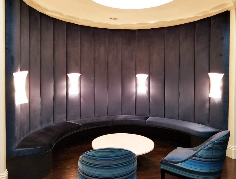 Tall Custom Banquette Built into a Curved Wall