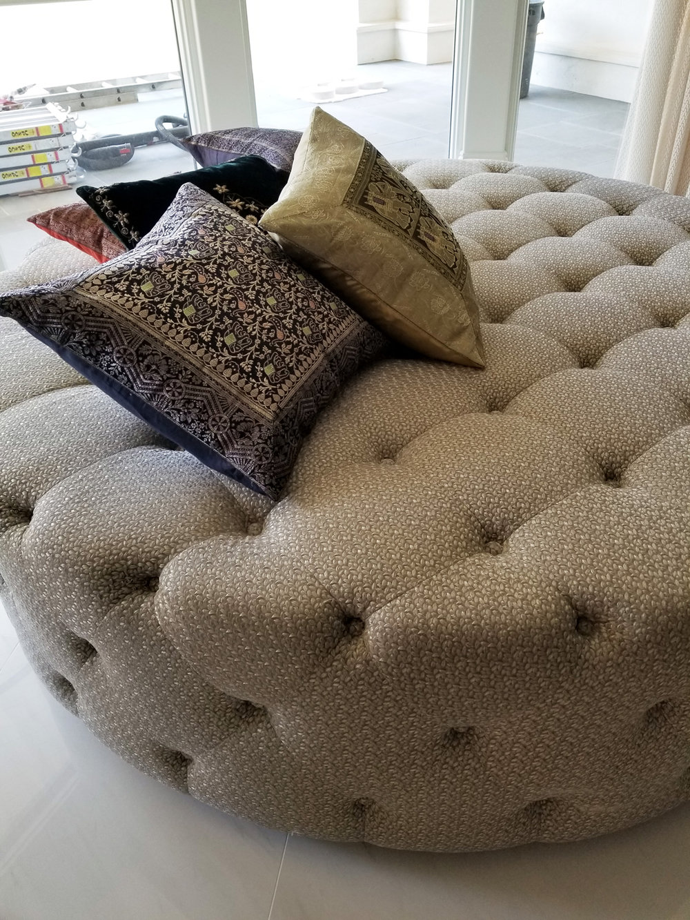 Rounded Tufted Ottoman