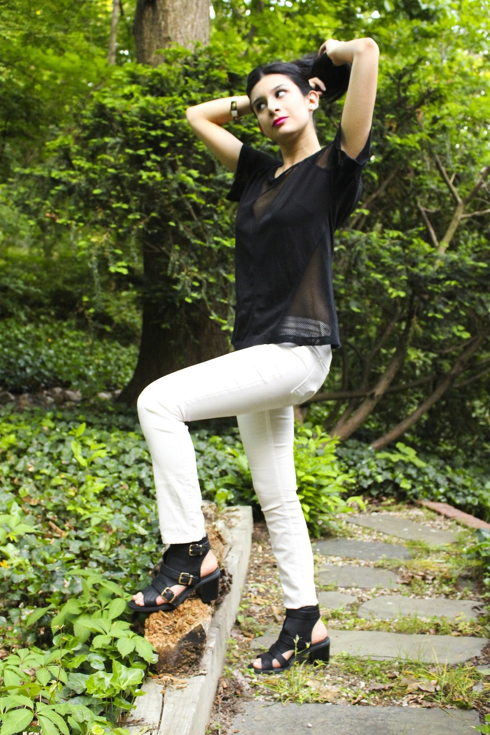 Top: T by Alexander Wang (sort of similar here), Jeans: Level 99, Shoes: Ecote (on sale now!), Lips: NARS Schiap.