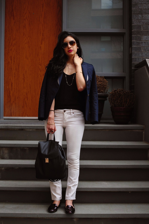 Blazer: Banana Republic (similar here), Top: H&M (similar here), Jeans: Joe's Jeans (similar here), Backpack: Deena & Ozzy (similar here), Shoes: own.