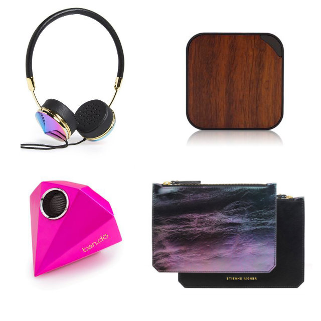 Clockwise from top left: headphones: Frends, Layla, universal charger: Triple C, Green Juice Dual Power Bank, leather pouches: Etienne Aigner, Eva small pouch, iPhone speaker: ban.do, Giant Gem Speaker