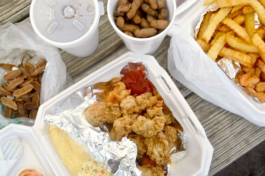 Fried Oysters, fried shrimp, coleslaw, cheese grits and boiled peanuts. The stuff homecoming happiness is made of.
