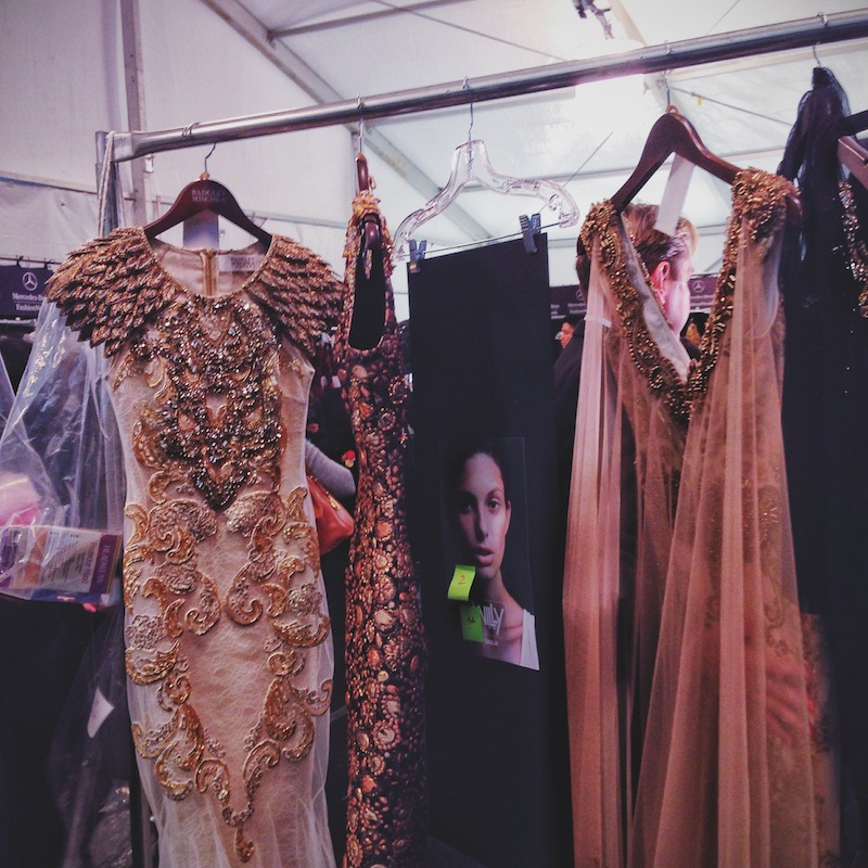 Backstage at Badgley Mischka when I was working the shows at New York Fashion Week.