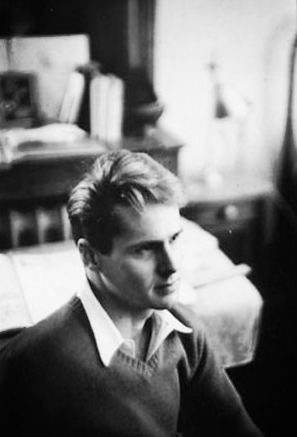 A casual side shot of a very good-looking young, blonde Ned Rorem.