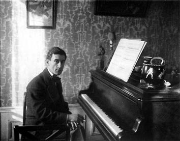 Ravel sitting at a grand piano in a wallpapered room, smoking a cigarette.