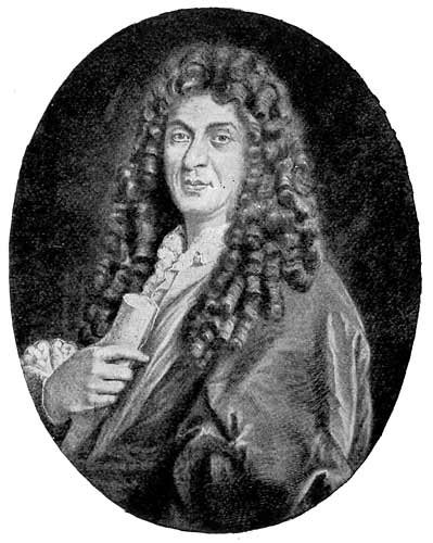 A painted portrait of Lully, with a very long curly wig.