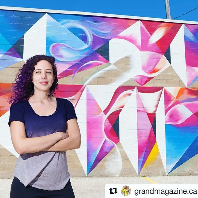 Had the pleasure photographing @stephboutari for @grandmagazine.ca! Such an honour to be photographing a talented artist like her 😄🎉❤️ Have a look at her website and maybe you will recognize some of her work around town!  www.stephanieboutari.com (She's also the one that painted that colourful mural in Goudies Lane in downtown Kitchener !🖌️) #cambridge #galt #dtk #dtklove #kwawesome #crestinaphotography #art #mural