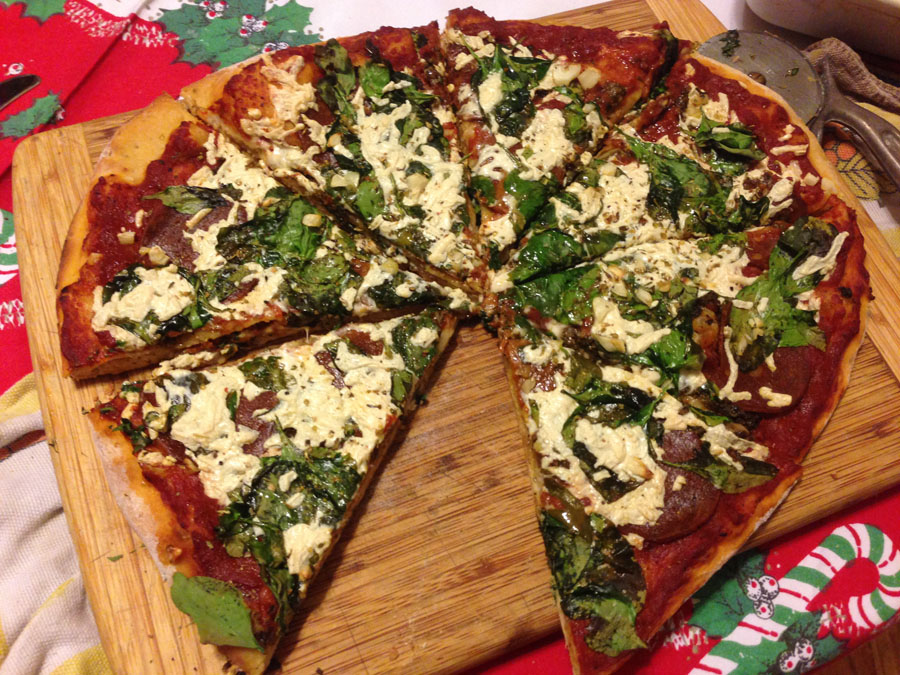 After reading the New York Times about the myths about habits, I thought I would apply the insights into developing the good habit of being vegan. For the record, that's our pizza from Christmas Day--vegan pepperoni, olives, spinach, pesto and Daiya cheese.