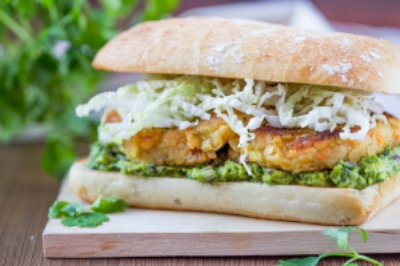 Add guacamole to a veggie burger sandwich instead of cheese.