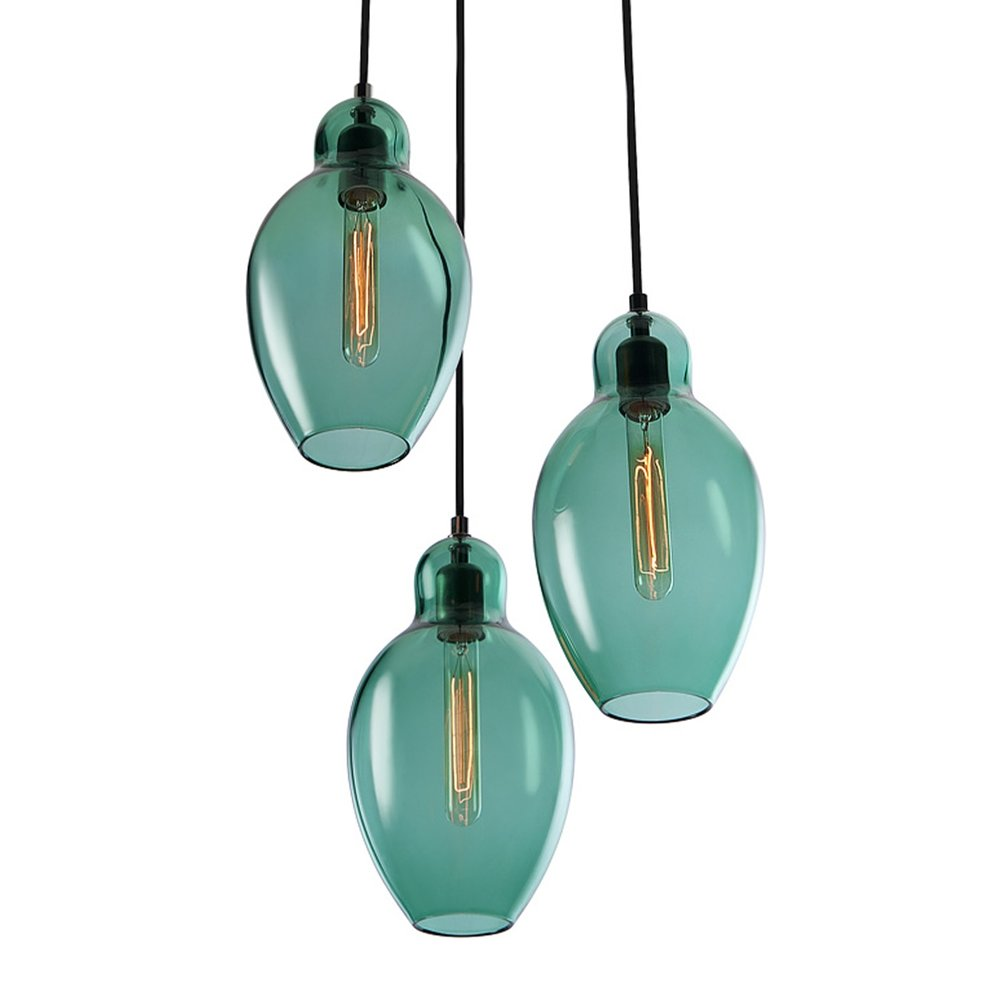 Cloches Chandelier in Tourmaline Green.