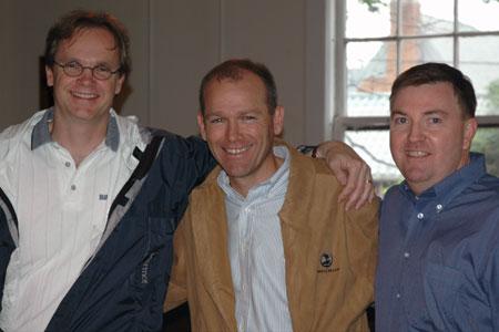 Dave Calhoun (center) with VT DKE Alumni Board members Dan Johnson (left) and Jim Scanlon (right)