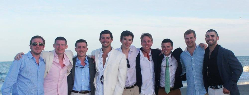 Brothers AJ Zaliz, Luke Allison, Ben Brisley, Kyle Blevins, Mark Lenzi, Will Adams, Charlie Cubberly, Evan Miller, and Corey Caufield