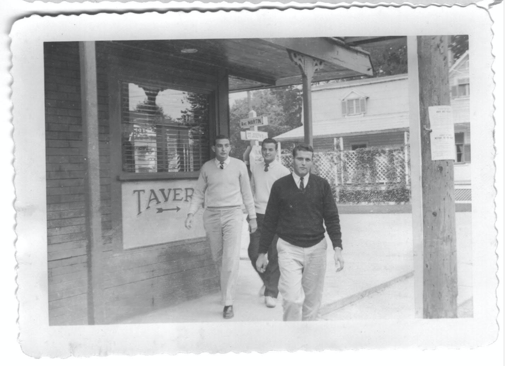 Brothers Emmett Williams, Charles O'Brien, and Tom Aud leaving a Montreal, Que. tavern