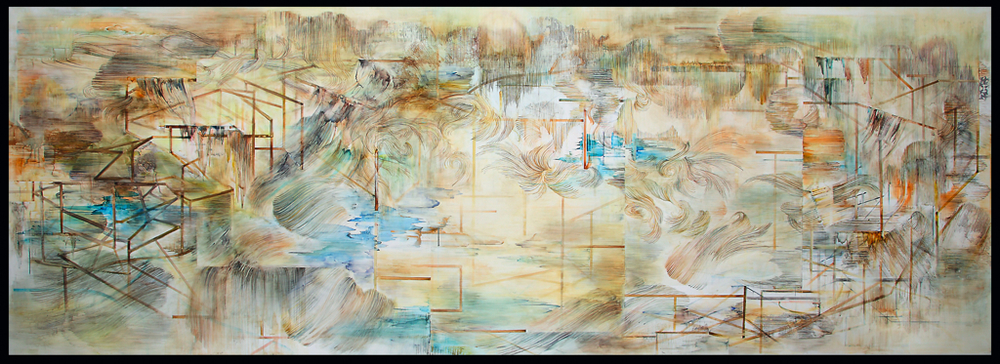 map to an impossible monument   watercolor, gouache on polypaper  5'x14'  2011