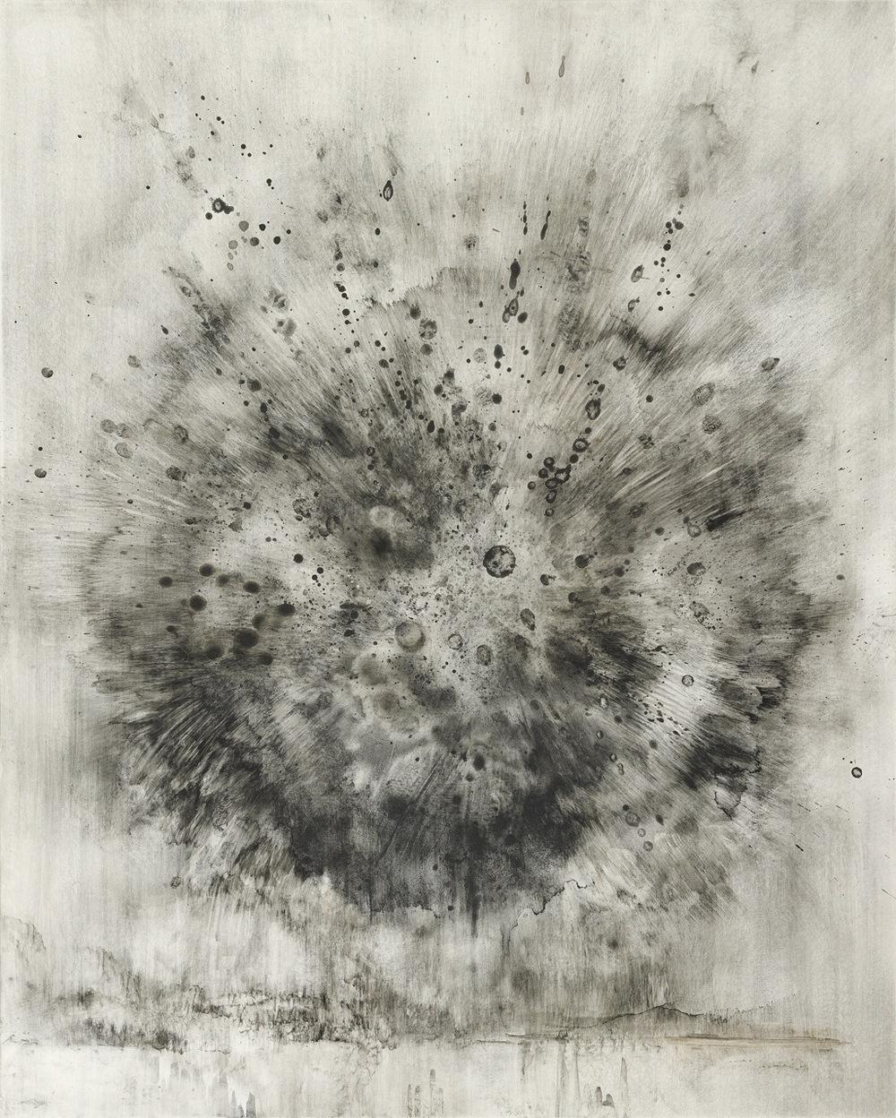 "breath and cinder   charcoal powder on clayboard  20""x16""  2012"