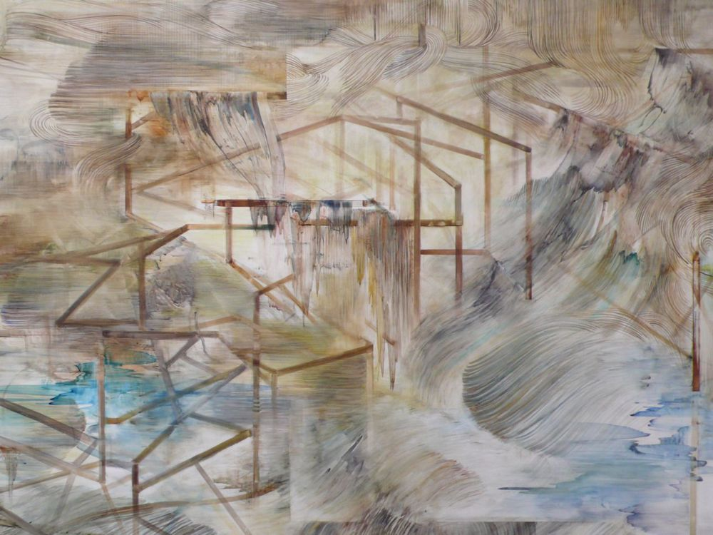 map to an impossible monument  (detail)   watercolor, gouache on polypaper  5'x14'  2011
