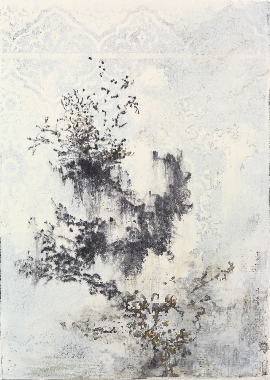 "last cedar   watercolor on clay mix coated paper (monoprint)  11""x7.5""  2012"