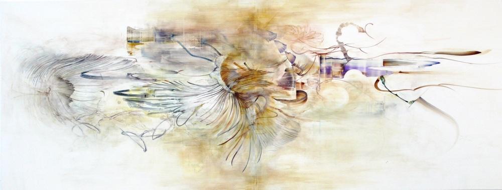 "cartagena drawing  watercolor, gouache on clayboard  24""x48""  2010"