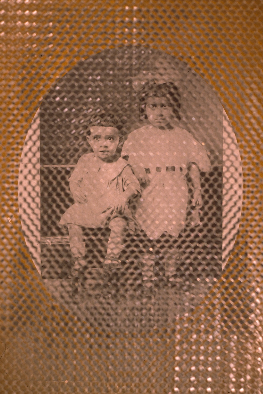 find the Syrian boys  installation detail  honeycomb aluminum, photograph  Bellevue Art Museum, Bellevue, WA  1992