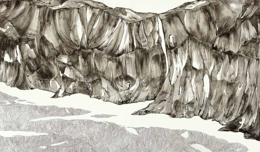 """thin space  ink, watercolor  42""""x72""""  2014"""