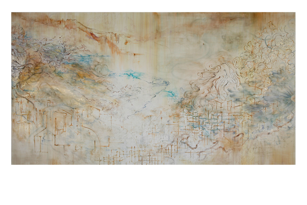 "jin  watercolor, gouache on clayboard  60""x96""  2015"