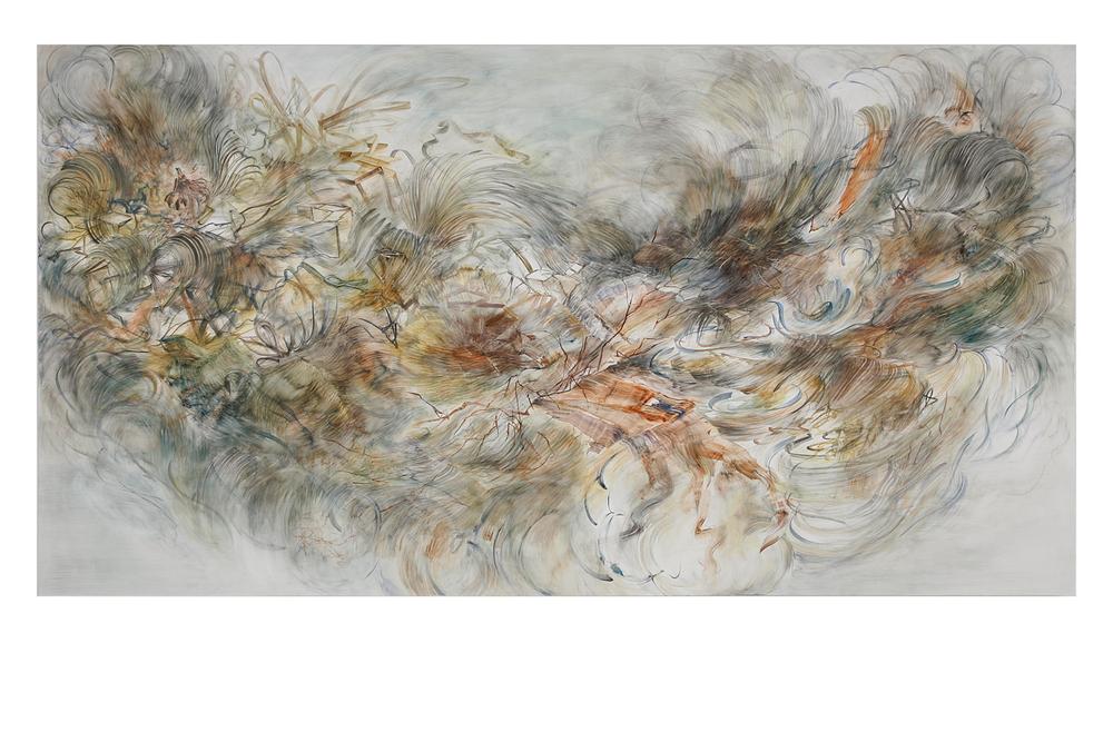 """messy heaven  watercolor, gouache on clayboard  60""""x96""""  2015"""