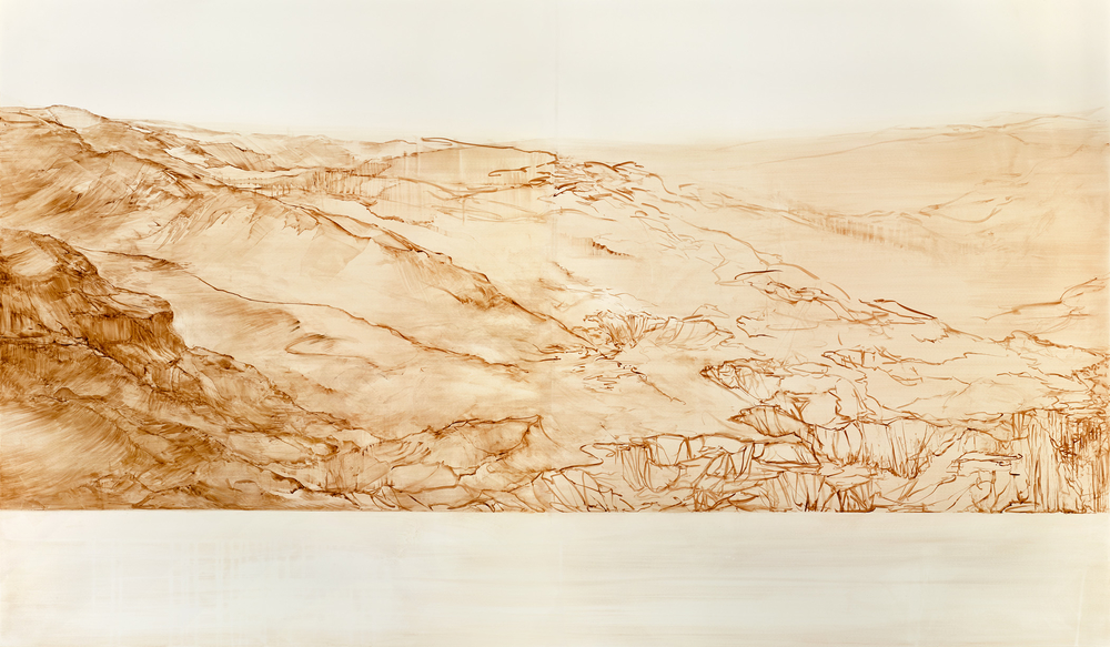 "no man's land  gouache, watercolor on clayboard  42""x72""  2015"