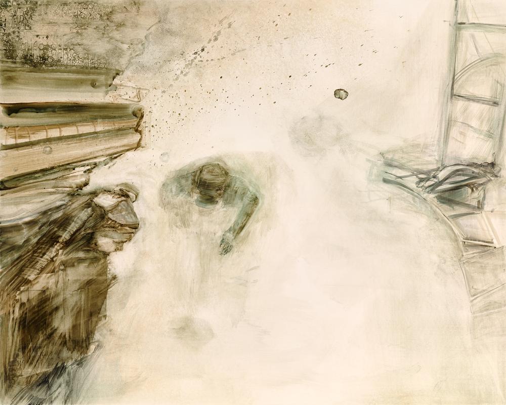 """story board 3  gouache, watercolor on clayboard  16""""x20""""  2015"""