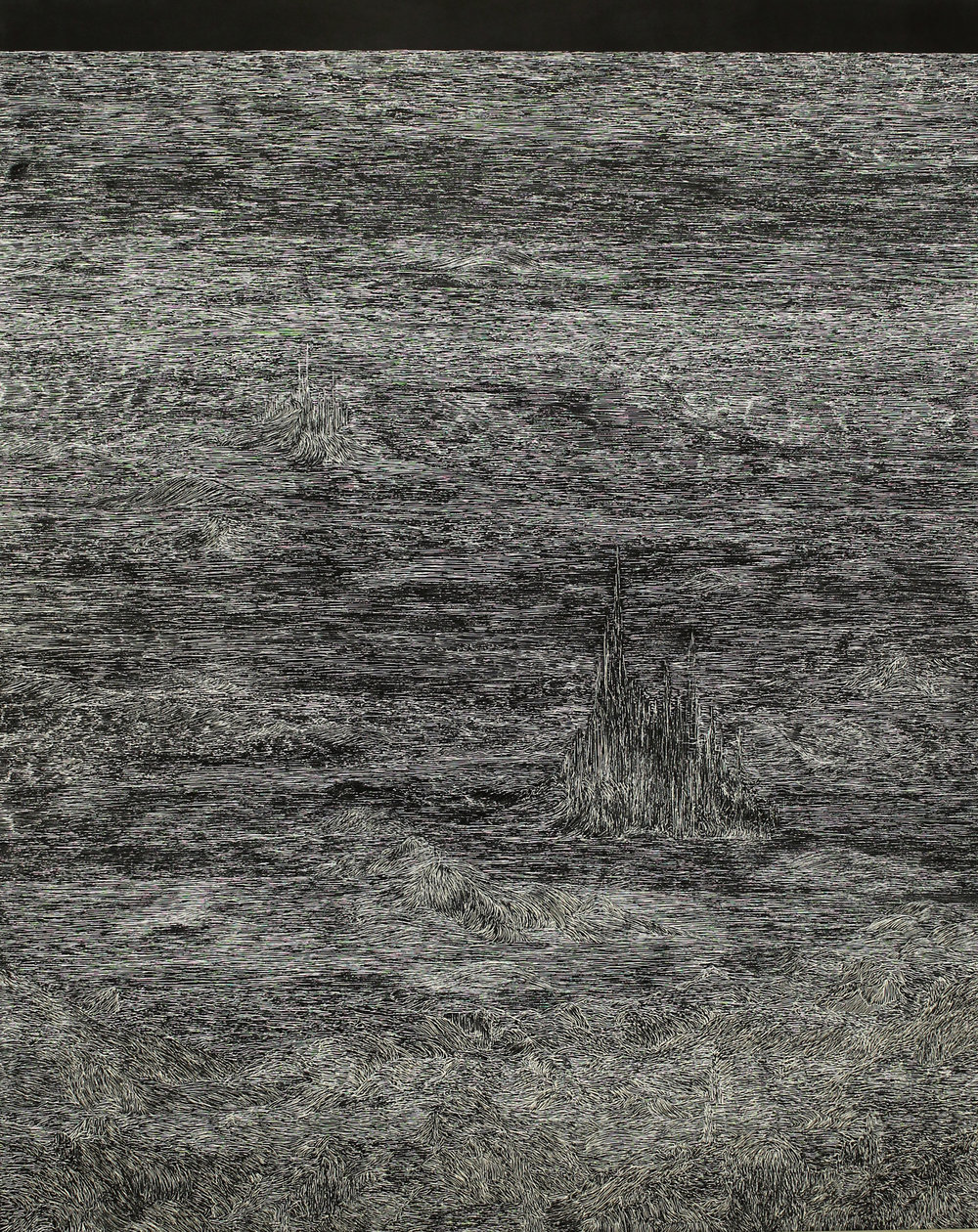 """this trembling turf (echo)   white pigment on clayboard  60"""" x 48""""  2016"""