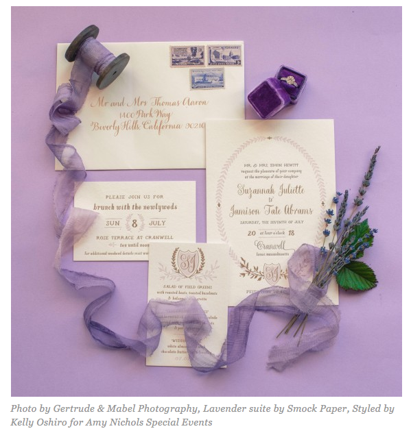Martha Stewart Weddings featured an invitation suite we photographed for Amy Nichols Special Events.
