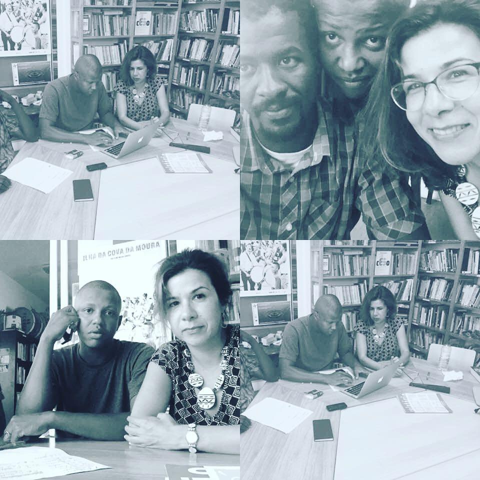 Da esquerda para a direita: Jakilson Pereira, Soraia Simões, Flávio Almada - reunião workshops ensino secundário na Associação Cultural Moinho da Juventude