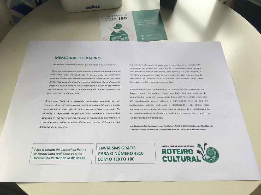 ''Um roteiro cultural sai à rua (...)'', in Público aqui >>>    O JARDIM DO CARACOL DA PENHA foi o grande vencedor do orçamento participativo de Lisboa. Uma ''vitória da cidadania''in Público aqui >>>