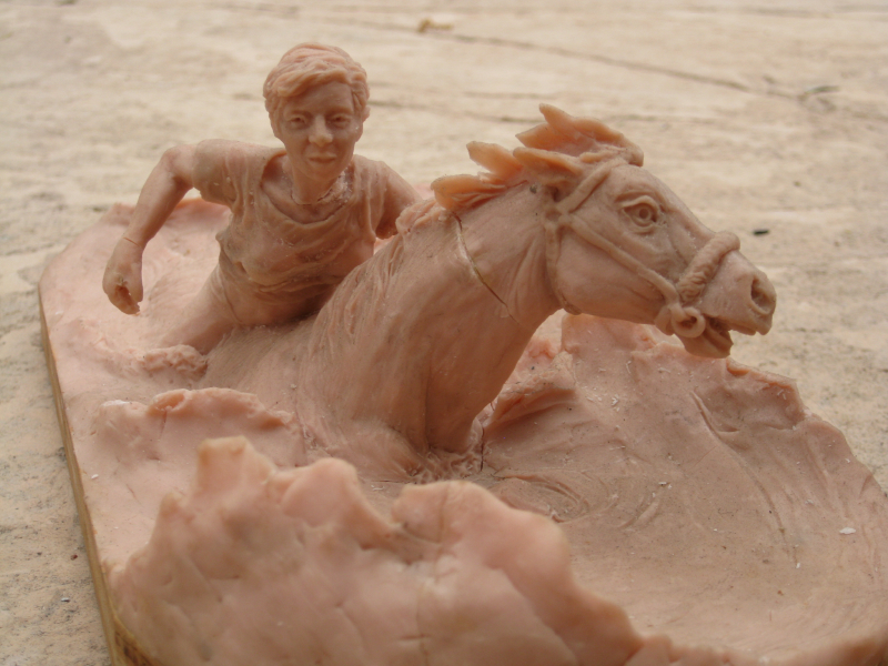 Girl on Swimming Horse
