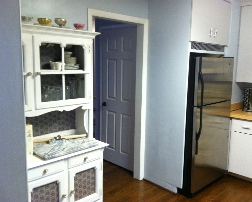 While this is not perfect, it fits our needs right now. Besides not having an actual pantry, the kitchen is pretty functional. There are some vanity things that we would like to add in the future, like granite counters and a farm sink. Maybe the next time you check in I will have something new to show!