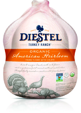 Organic American Heirloom   Heirloom turkeys are prized by chefs around the world for their superior flavor. Diestel raises a mix of Auburn, Black, and American Bronze Turkey breeds. These breeds predate the Broad Breasted White which currently dominates the market. They grow slower, allowing them time to pack on the fat that enriches their flavor. Diestel's Heirloom turkeys are also USDA Certified Organic and Non-GMO project verified! This is a previously frozen bird. Learn more about Diestel's Heirloom Turkeys here:  http://diestelturkey.com/american-heirloom/