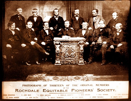 The thirteen original members of the Rochdale Equitable Pioneers