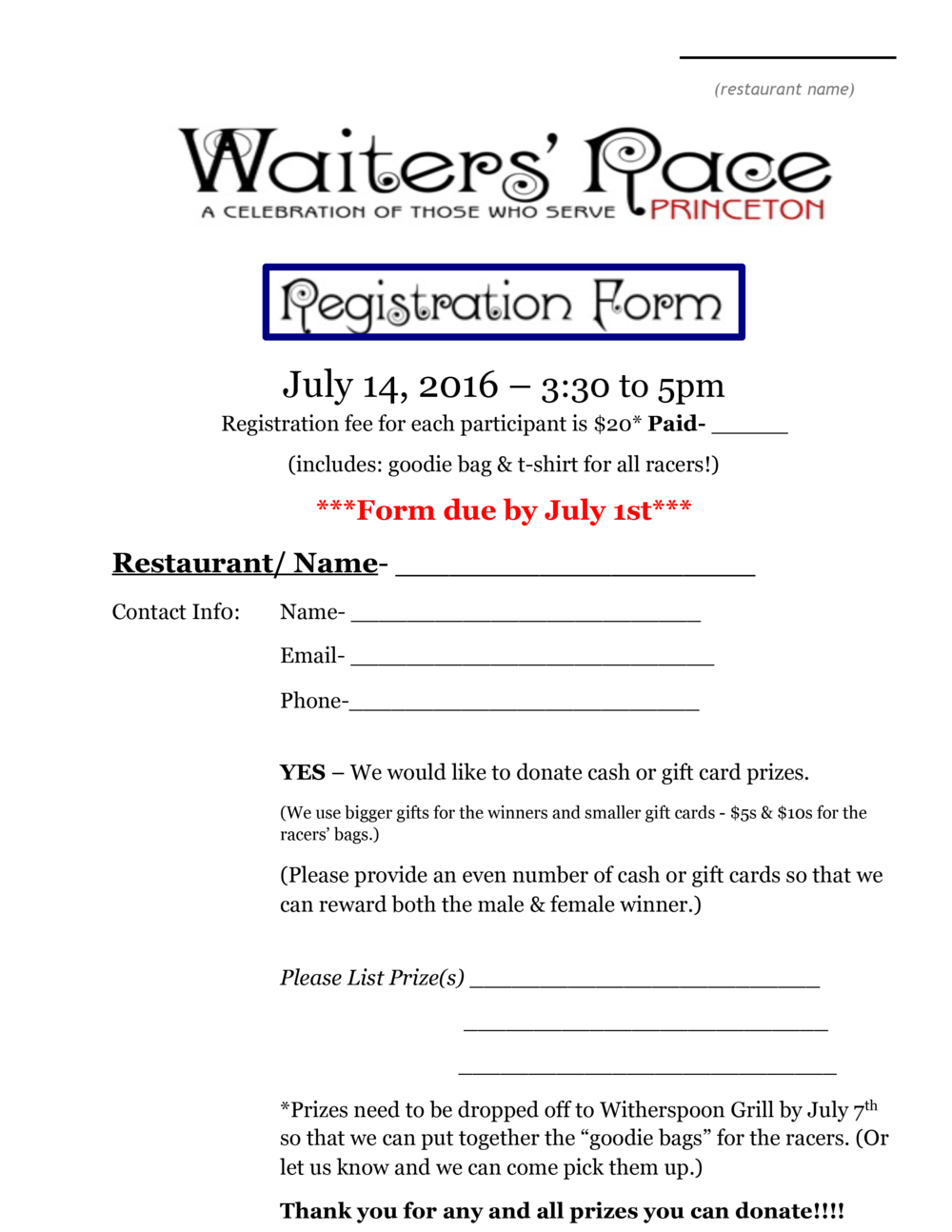 Racer Registration Form, page 1