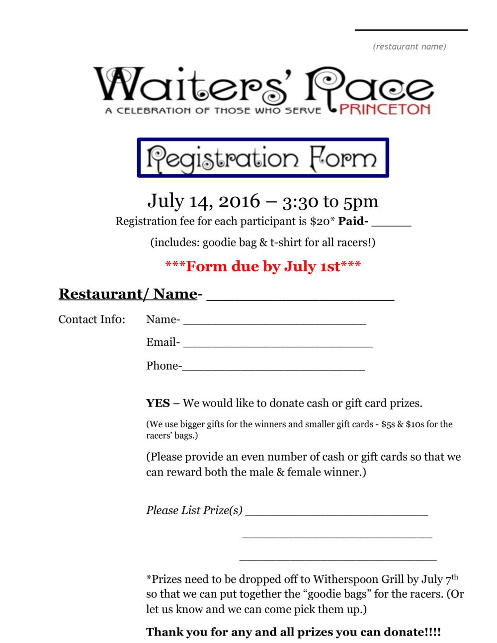 Racer Registration Form, page 1