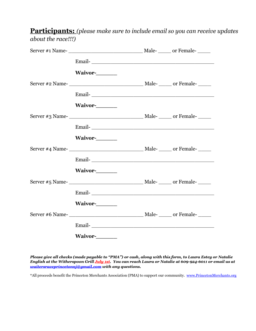Racer Registration Form, page 2