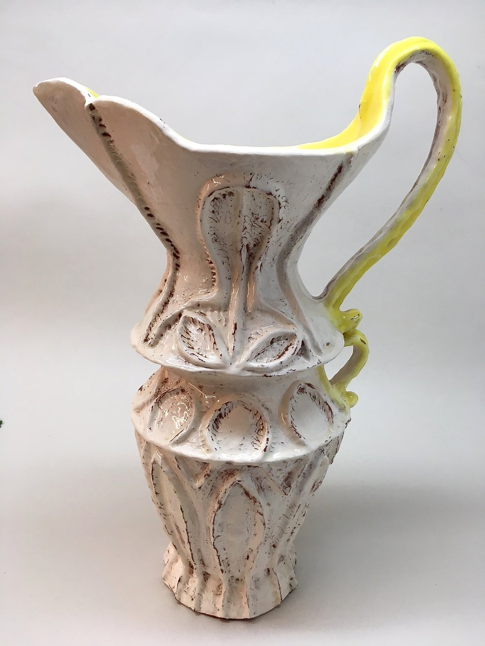 White and Yellow Pitcher/Vase