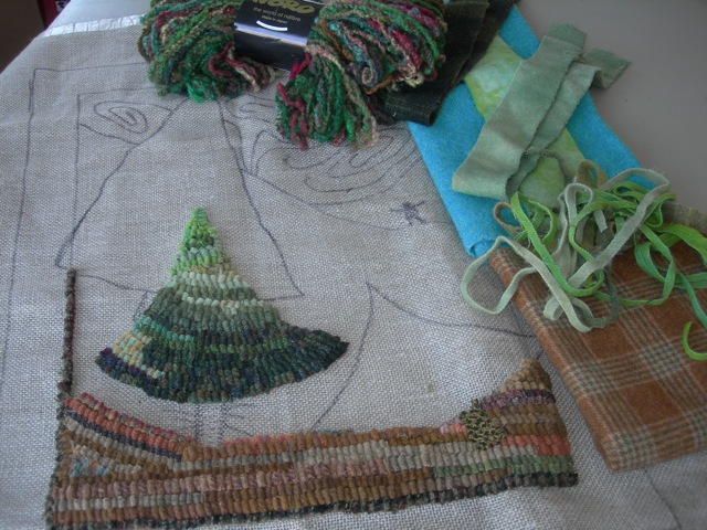 Northern Lights a la Emily Carr design in beginning stage.