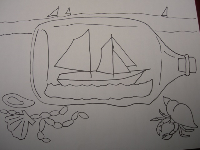 My original drawing for Ship in a Bottle.