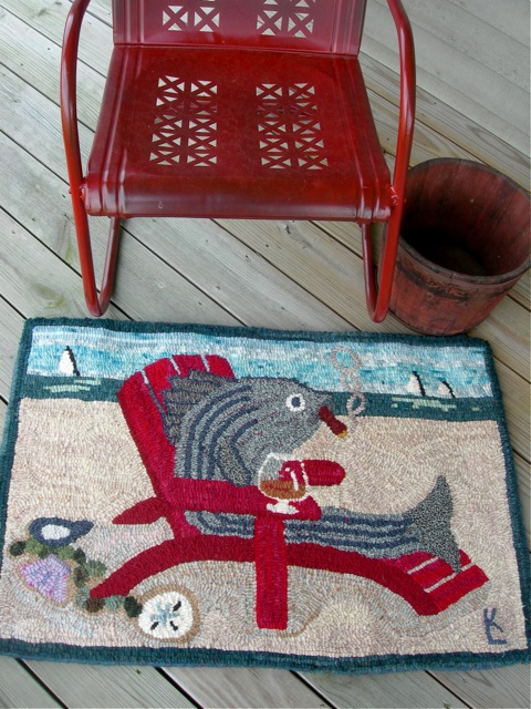 The completed rug on the front deck.